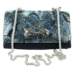 Valentino Butterfly Print Sequinned Clutch - Blue